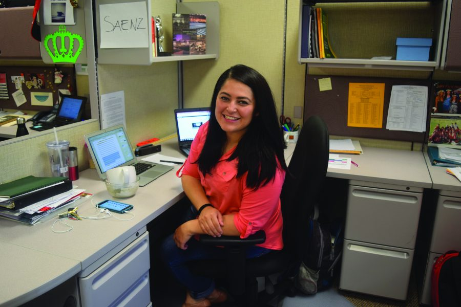 Saenz+poses+at+her+desk+in+the+English+office+Credits%3A+Jeanine+Kim20%2FSpectrum