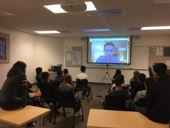 Alumni video chat with students