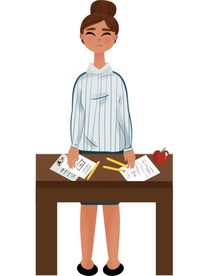 Graphic+of+teacher+standing+by+desk+awaiting+a+meeting+with+student.+Credit%3A+Hannah+Mittleman+20