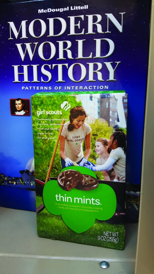 Girl Scouts sell cookies on campus