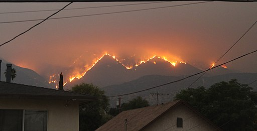 Bobcat Fire view from a kitchen window in Monrovia, CA, September 10, 2020. Photo by Eddiem360