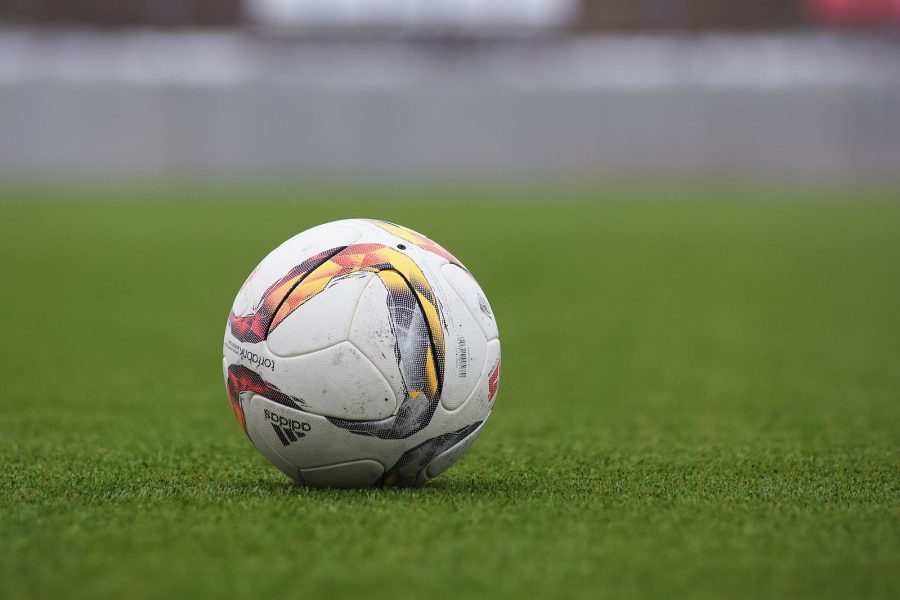 Adidas soccer ball on a grass pitch. Photo by: Peter Glaser CC0 1.0