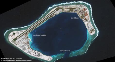 One of the numerous bases China has constructed in the South China Sea, satellite imagery reveals this one in the Spratly Islands